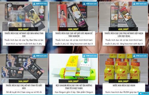 thuốc kích dục tràn lan trên các trang mạng