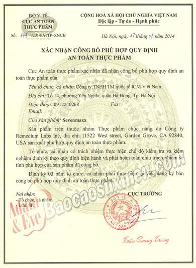 Chung nhan ATTP san pham SevenMaxx